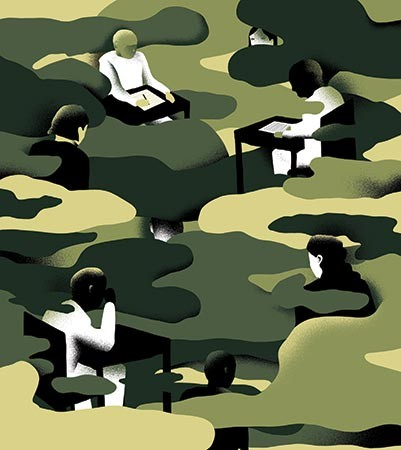 Illustration shows people working at desks interspersed with a camouflage motif