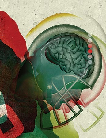 Illustration shows a football player wearing a helmet and his brain