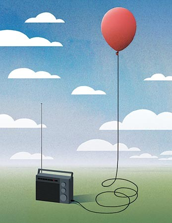 Illustration shows a red balloon plugged into the audio jack of a radio
