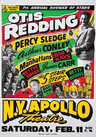 Poster for Otis Redding performance at the Apollo is red, white, black, yellow, and green