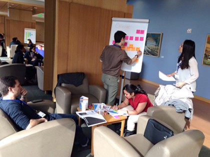 Students work in a group, brainstorm with whiteboard