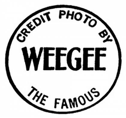Stamp reads Credit photo by Weegee the Famous
