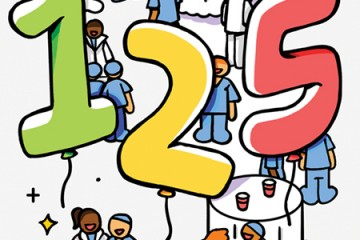 Illustration shows doctors mingling at tables with giant balloons reading 125