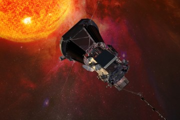 An artist's rendering shows a dark spacecraft hurtling towards an orange ball of fire and gas