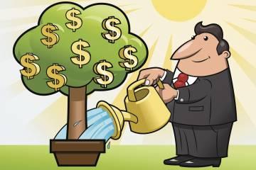 Illustration of man watering tree growing money symbols