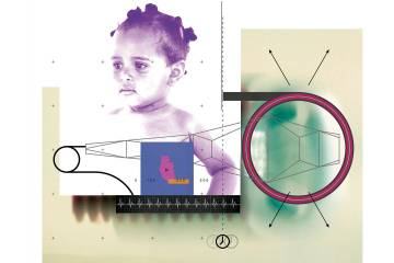 Collage of an infant and biomedical device drawings