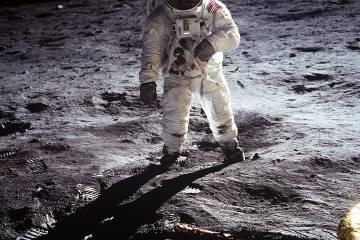 Buzz Aldrin walks on the moon in 1969