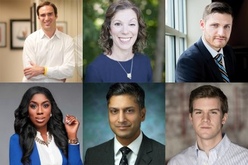The six from Hopkins who have been honored in the annual 40 Under 40 list compiled by the Baltimore Business Journal are: (top row, from left) John Avirett, Sarah Hemminger, and David Narrow; and (bottom row, from left) Wendy Osefo, Sashank Red