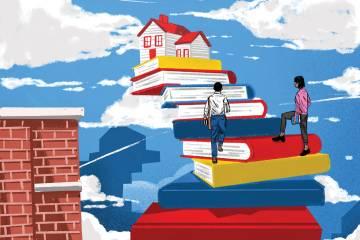 Illustration of books and a house in the clouds