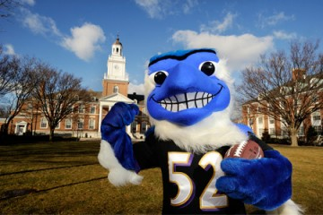 335322a1e186 Johns Hopkins Blue Jay does the Ray Lewis dance