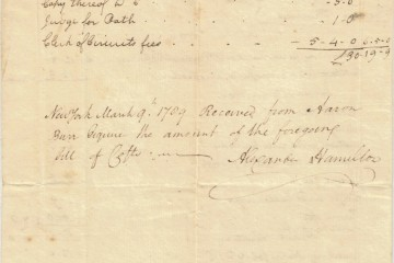 Close-up of receipt from Alexander Hamilton