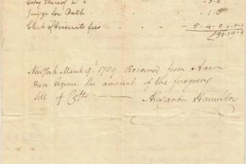 Close-up of receipt from Alexander Hamilton