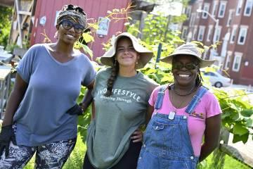 Volunteers at a community garden