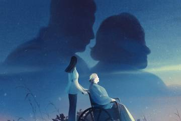 Illustration of a person pushing a senior citizen in a wheel chair