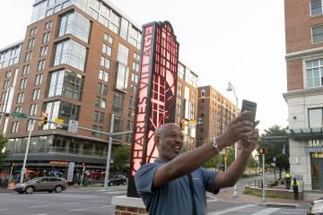 Charles Village sign selfie