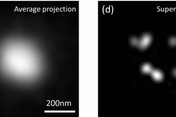 Comparison of two imaging results, showing the increased specificity and clarity of the DNA-STROBE nanomaterial
