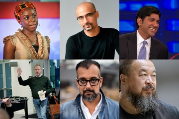 Foreign Affairs Symposium speakers include (clockwise from top left): Chimamanda Ngozi Adichie, Junot Díaz, Aneesh Chopra, Ai Weiwei, Suroosh Alvi, and representatives from the Veterans Writing Project
