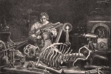Etching of a scientist assembling a skeleton