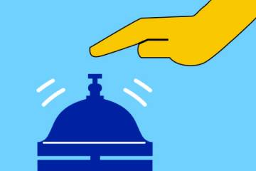 Illustration of a hand ringing a concierge bell
