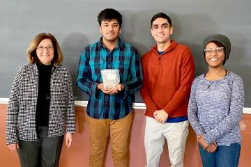 Student group from Patricia McGuiggan's Materials Characterization class. (in order from left to right) Julie Rose (Museum Director/Curator), Varun Kedia (2020, BME), Anish Thyagarajan (2020, BME) and Avery Burrell (2020, BME)