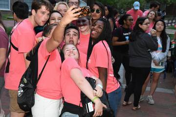 Students pose for a seflie