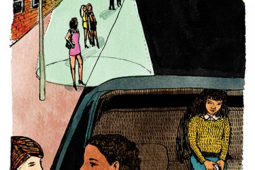 Illustration of a woman talking to another woman through a car window