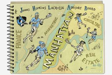 Illustration of notebook and lacrosse players