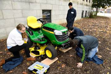 Team works to improve the safety of riding lawn mowers for Hopkins' annual Design Day