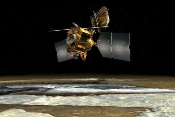 An artist's illustration of the Mars Reconnaissance Orbiter