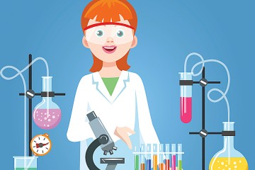 A humorous illustration shows a woman pointing to fanciful scientific instruments
