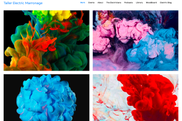 Screenshot of Electric Marronage website shows four artistic images and a simple site navigation bar