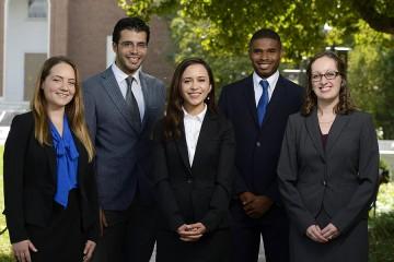 Johns Hopkins University Siebel Scholars (from left) Adriana Blazeski, Berk Gonenc, Shiva Razavi, Quinton Smith, and Lindsay Clegg