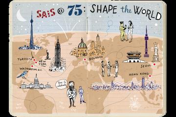 Illustration of a notebook with SAIS celebration doodles