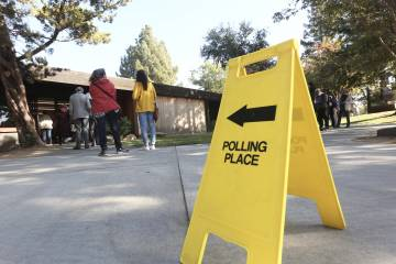 Voters line up outside a polling place in California