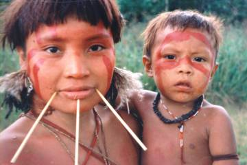 A Yanomami woman and child