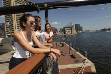 students look out over the Inner harbor
