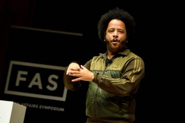 Boots Riley speaks at the Foreign Affairs Symposium