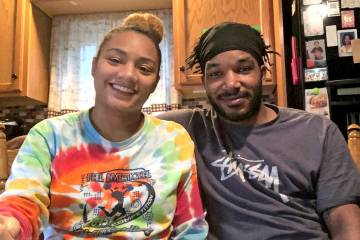 Abiana Mello and husband Anthony V. Edwards at home in Laurel
