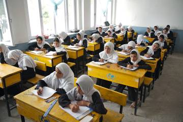 Girls attend school in Afghanistan