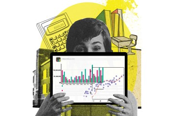 Collage of a woman holding a tablet with data displayed