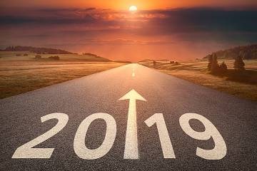 Arrow on highway points ahead to 2019