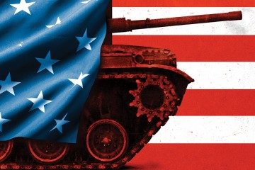 Illustration depicts a tank draped in the American flag in front of a red and white striped background