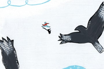 Illustration depicts a person running over ice while twi large birds circle overhead