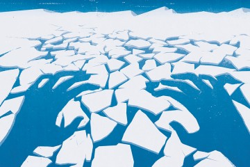 Illustration shows melting ice blocks with sinister hands in the negative space