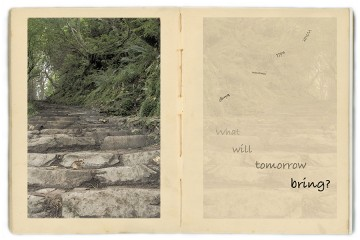 A two-page spread features photos of stone steps on the left and the text