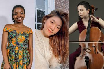 Composite image of three women