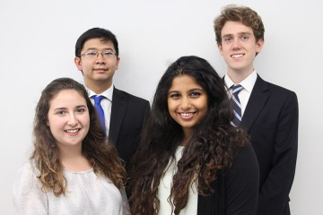 AssistENT team included (clockwise from back row, left): Harrison Nguyen, Clayton Andrews, Pooja Nair, and Talia Kirschbaum