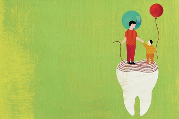 Illustration depicts a child holding hands with a toddler while they stand on top of a tooth with rings like a tree