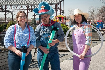 Three people in western-looking clothes at the B&O Railroad Museum's Wild West Adventures