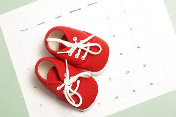 Red baby sneakers on a monthly calendar